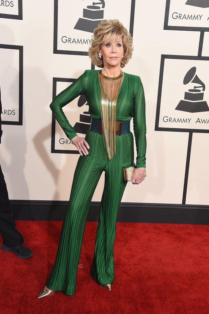 Jane Fonda in Balmain. Grammys 2015