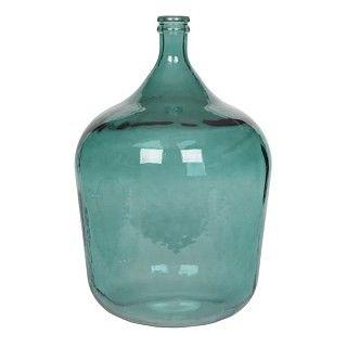 Prachtig accent in een stoere inrichting, met één blauwe distel erin, of wat maar verkrijgbaar is bij de bloemist/Intratuin. Vaas van gerecycled glas, blauw. Afmeting Ø 40 en h 56 cm. €59