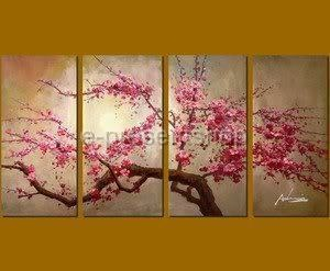 Wholesale -MODERN ABSTRACT WALL ART CHERRY BLOSSOM OIL PAINTINGS --Free Shipping!