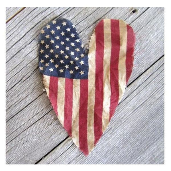 Primitive American Flag Heart Old Glory Flag Heart 4th of July Decor... ($6) ❤ liked on Polyvore featuring home, home decor, home & living, home décor, ornaments & accents, silver, red white blue home decor, american flag home decor, primitive home decor and heart home decor