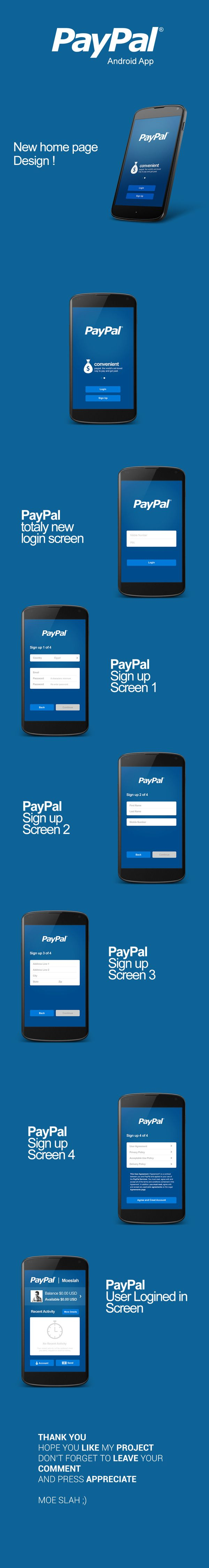 PayPal Android App UI design by Moe slah, via Behance