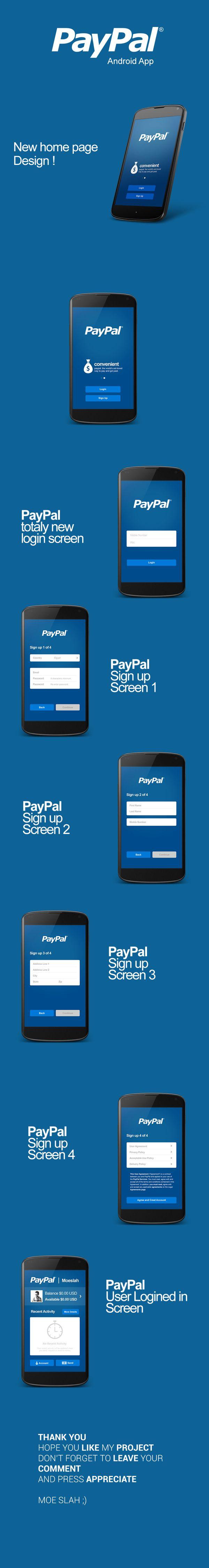 PayPal Android App UI design by Moe slah, via Behance