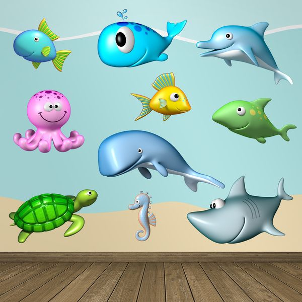 Adesivi per bambini: Kit animali oceano Adesivi murali bambini a kit. #adesivimurali #decorazione #modelli #mosaico #polpo #balena #delfino #tiburón #tartaruga #cavallo #mare #pesce #StickersMurali
