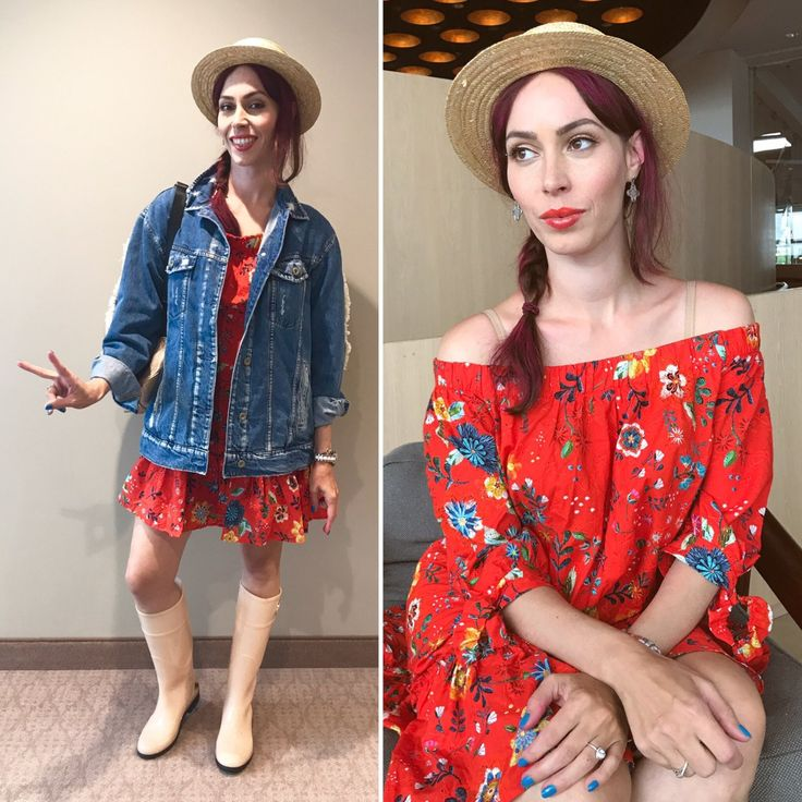 Opener 2017- festival look , country style, oversize jeans jacket, offshoulder orange flame floral dress, canotier hat and rainboots, streetstyle