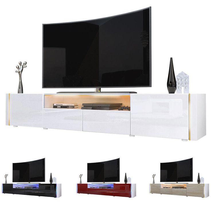 TV Lowboard Board Schrank Tisch Möbel Marino V2 in Weiß - Hochglanz & Naturtöne in Möbel & Wohnen, Möbel, TV- & HiFi-Tische | eBay