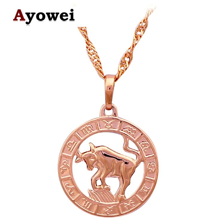 Taurus  Necklaces & Pendants Special Party Items New Arival 12 Constellation design  gold tone Fashion Jewelry  LN459A #Affiliate
