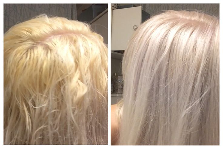 Toning blonde hair from brassy yellow or orange to silvery white platinum with a lavender toner at home! Paul Mitchell Flash Finish Ultra Violet toner