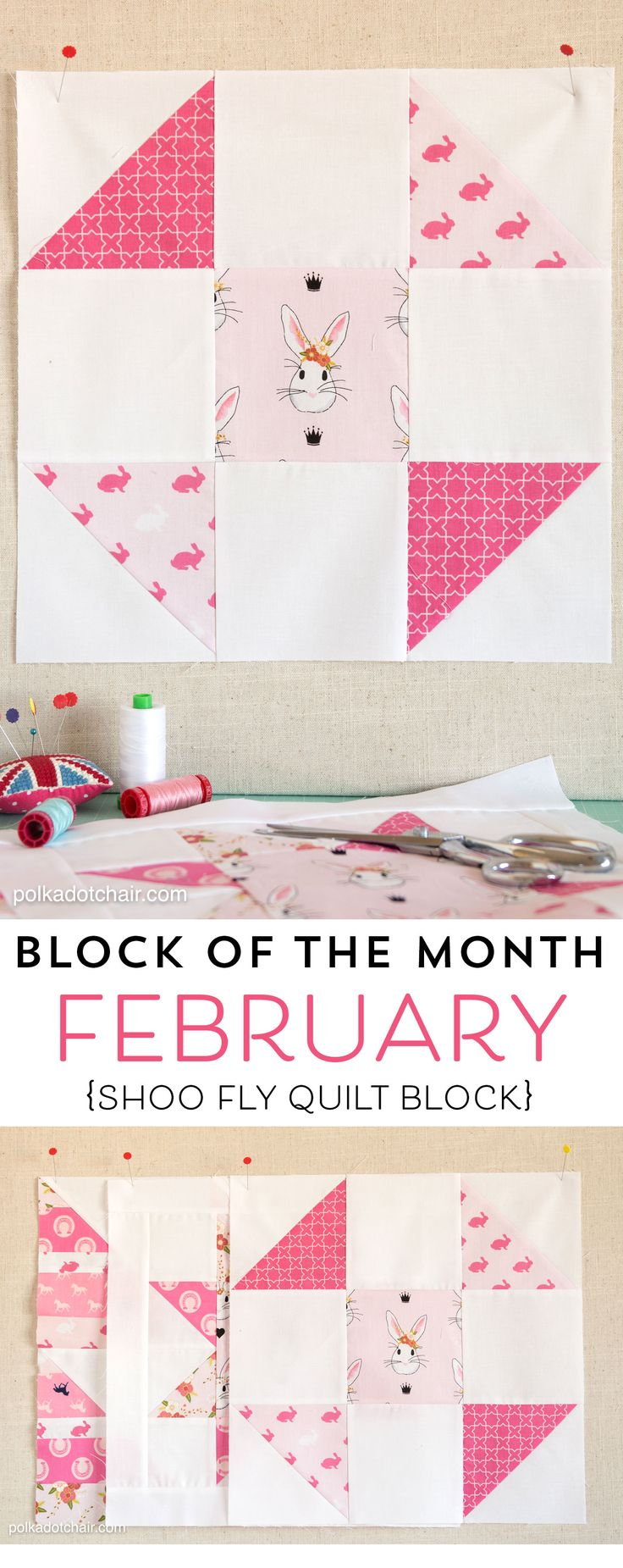 The February Block of the Month on polkadotchair.com - A free pattern for a Shoo Fly Quilt Block posted by Melissa