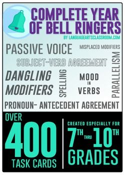 Bell ringers for high school! These cover common grammar errors. Task cards are quite versatile and allow teachers to choose which ones work best for their class. Print, laminate, and use for years.