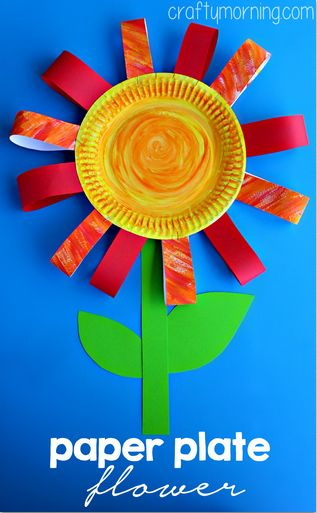 Paper Plate Flower Craft, perfect for a rainy day! Michelle {CraftyMorning.com} paperplatecraft