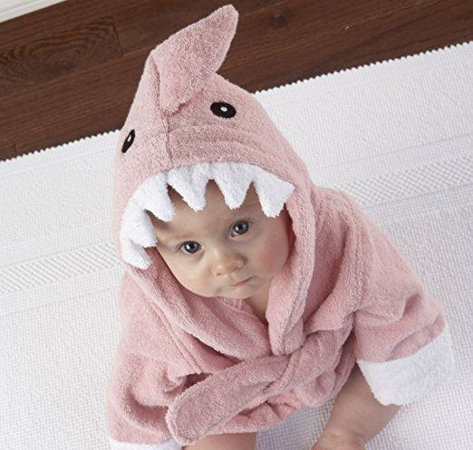 """Baby Aspen """"Let the Fin Begin"""" Shark Robe, Pink, 0-9 Months : Infant And Toddler Robes : Clothing"""