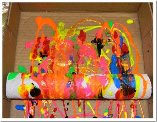 paper towel roll painting! Love this and would be great to do when making Rain Sticks instead of tissue paper then enclose whole thing in contact paper to keep while shaking rain stick.