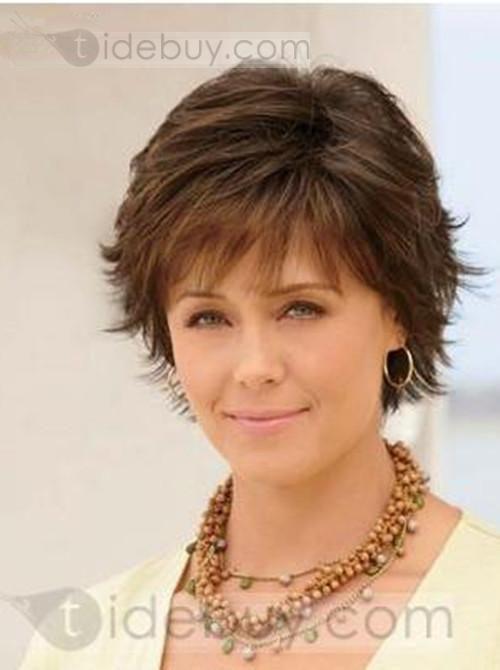 moderna exquisita peluca corto liso castao pelo natural para mujer con cabello
