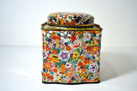 Small Floral Print Tin Container Retro Tin Made In