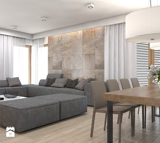 dom jednorodzinny Żyrardów - Duży salon z jadalnią, styl nowoczesny - zdjęcie od A2 STUDIO pracownia architektury