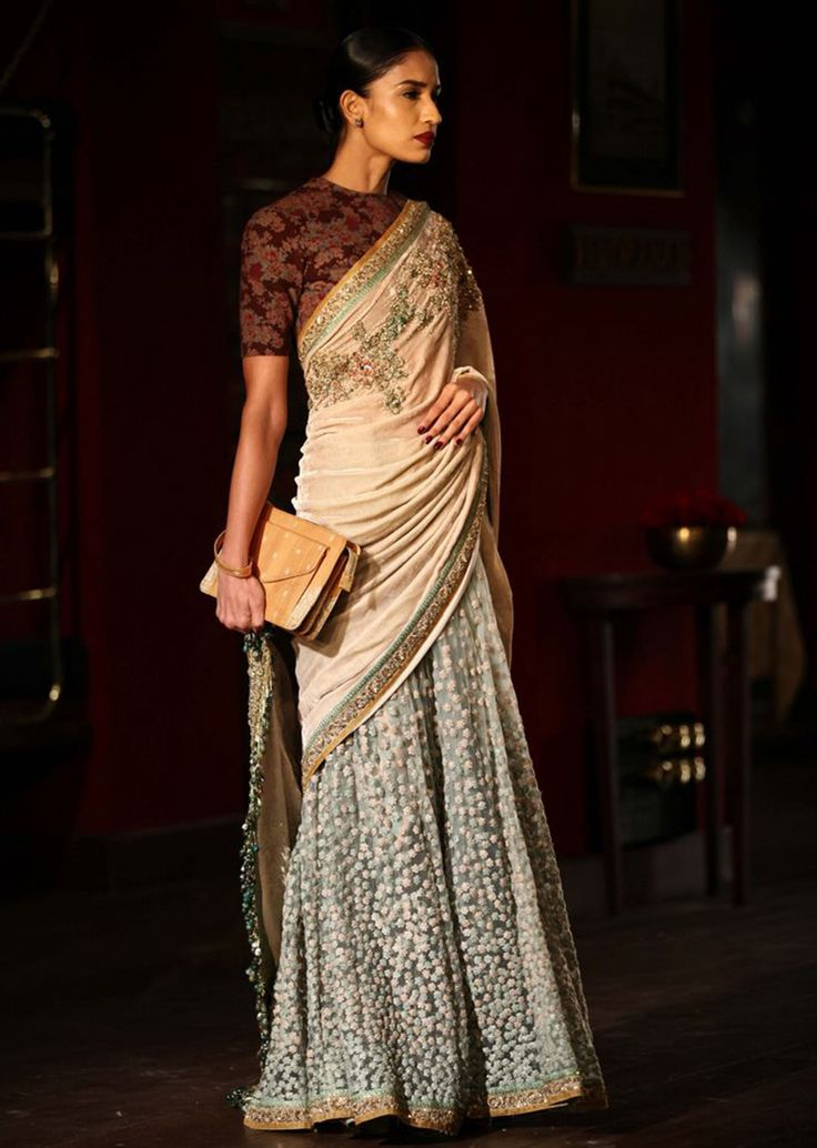 Model in grey with peach saree for sabyasachi collection of Indian couture week July 2014 - Kalkifashion.com
