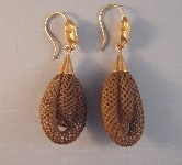 VICTORIAN 14k woven brown hair earrings..  Whether fashioned by a home crafter or professionally by a hair weaver or a jewelry maker, hair jewelry was the height of the romanticism and sentiment that characterized the Victorian era. Some pieces were done as mourning pieces. While some may find this morbid, for the Victorians death was a common and accepted part of everyday life especially due to the higher infant mortality rate of the time and the devastation of the Civil War.