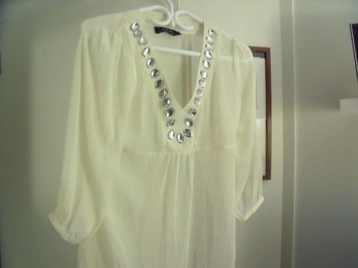 Tunic Cream Colored with Silver Stones Size Medium HKR Collections | eBay