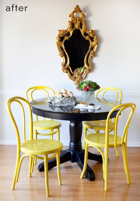 17 best ideas about yellow chairs on pinterest yellow for Yellow painted table