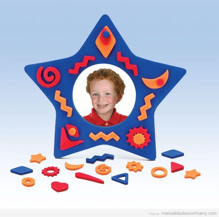 Marco fotos goma eva con forma de estrella goma eva pinterest - Manualidades marco fotos ...