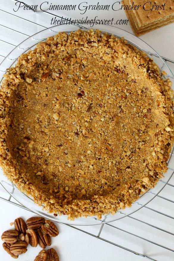 Pecan Cinnamon Graham Cracker Crust Recipe ~ quick easy pecan pie crust that can be used in any recipe that calls for cooked or uncooked pie crust