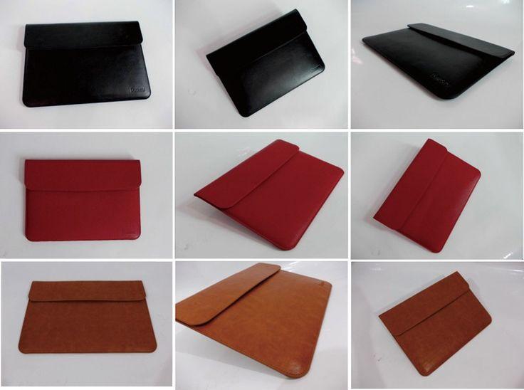 caja del ordenador portátil de cuero genuino de alta gama, bolsa para portátil, bolso de cuero de la manga del macbook forro para el aire del macbook pro 11 13 15 pulgadas