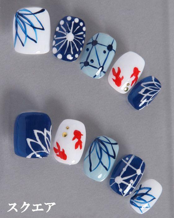 デザインネイルチップ・つけ爪ゆずネイル|ネイルチップ ホワイト 薄ブルー 濃ブルー マルチカラー 動物 花 クール 夏 浴衣(B01013-Q-NB)の販売|ゆずネイル公式通販