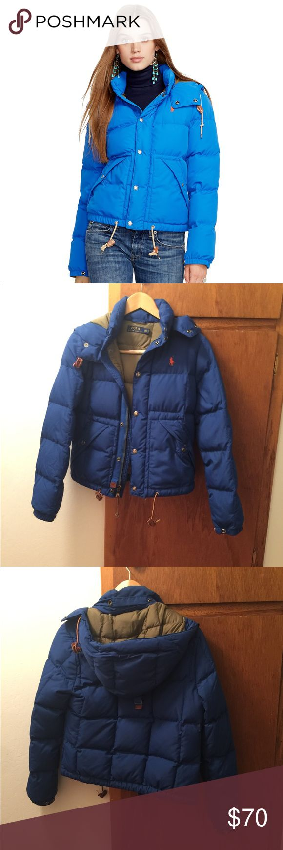 Polo Ralph Lauren blue hooded elmwood down jacket Bought it for a vacation in the mountains in Colorado in the winter and survived snowstorm... pretty solid. Wore during the vacation and dry cleaned Polo by Ralph Lauren Jackets & Coats Puffers