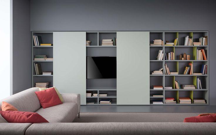 Spazioteca composizione con struttura laccato opaco fumo - Pianca mobiliario ...
