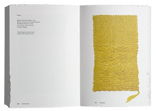 Amazing book by Irma Boom ! She created rough edges to the pages, to reflect Sheila Hicks' experimentations on textiles. The book is like a white sculpted block withe embossed cover. The layout is so pure but still surprising… Weaving as Metaphor ARTIST Sheila Hicks ART DIRECTOR Irma boom PUBLISHER Yale University Press in association with the Bard Graduate Center for Studies in the Decorative Arts, Design, and Culture EDITOR Nina Stritzler-Levine with Arthur C. Danto and Joan Simon.