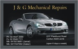 Business cards for Car Mechanic Repair, Carlton