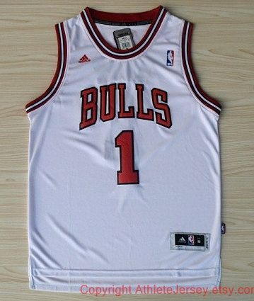 Derrick Rose Chicago Bulls 1 Super Rare NBA White Jersey NBA Chicago Bulls Basketball Jersey All Stitched and Sewn Any Size S - XXL