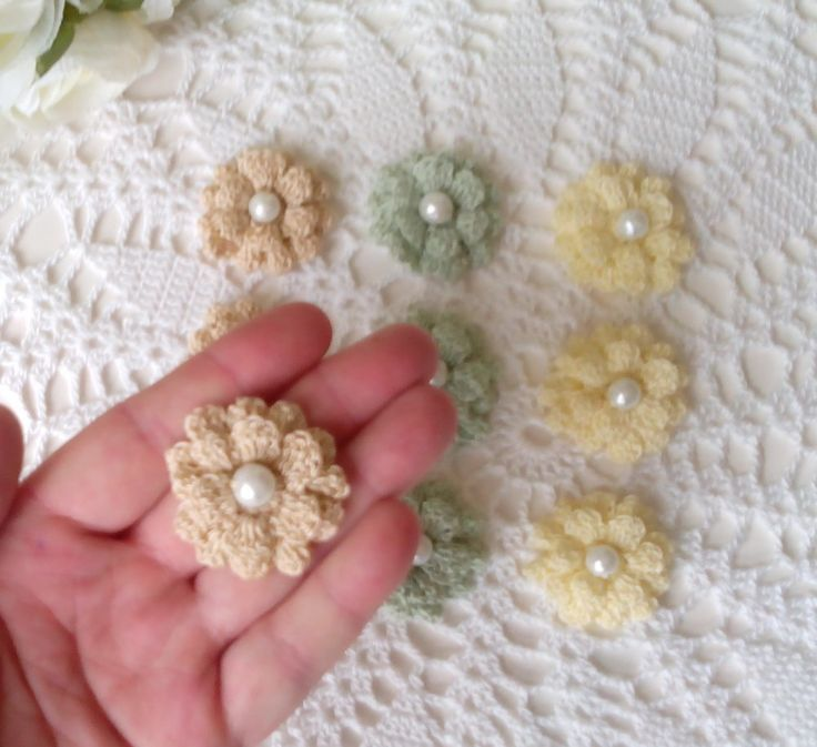 Small 2 layered beaded flowers in light colors