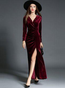 Red Sexy V-Ausschnitt Taille Split Maxi-Kleid