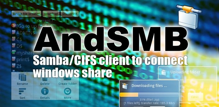 AndSMB - Samba/CIFS/Windows share client  AndSMB is a SMB (Samba/CIFS) client for Android devices. It allows connecting to shared folders hosted on Windows or Samba servers over Wifi/3G/4G. It allows managing several connections with authentication. It comes with both a device file browser and a SMB file browser. It provides download and upload support for files and folders. It can synchronize folders. You can rename, delete, get file details, create folders open local and remote files