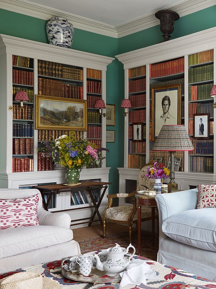 The library in the Welsh home of interior designer Penny Morrison featured in the April 2015 issue of Elle Decor.