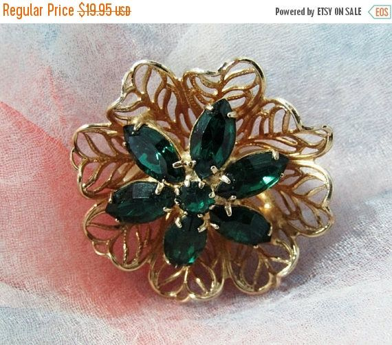 New Year Sale - Round Brooch, Green Marquis and Round Rhinestone, Pin, Gold Tone, Bridal Bouquet Accent, Scarf, Sweater, Lapel, Mid Century