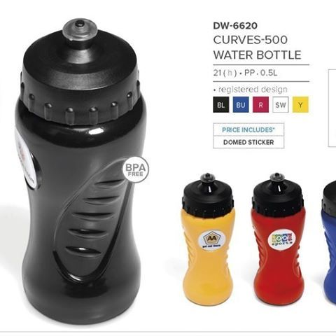 Curves-500 Water Bottle - 500ml water bottle. Best Branding offers 9 exciting colours to choose from, manufactured locally allowing short replenishing times. Awesome side groovy design. Push-pull spout and very wide screw-lid for easy cleaning, filling and even adding ice cubes. BPA free. Custom colours available on request. MOQ 5 000 pieces. Oval flat section for full colour domed sticker application. 500ml. No minimum order qty. Best Branding setup cost applies on the FREE Branding. Full…