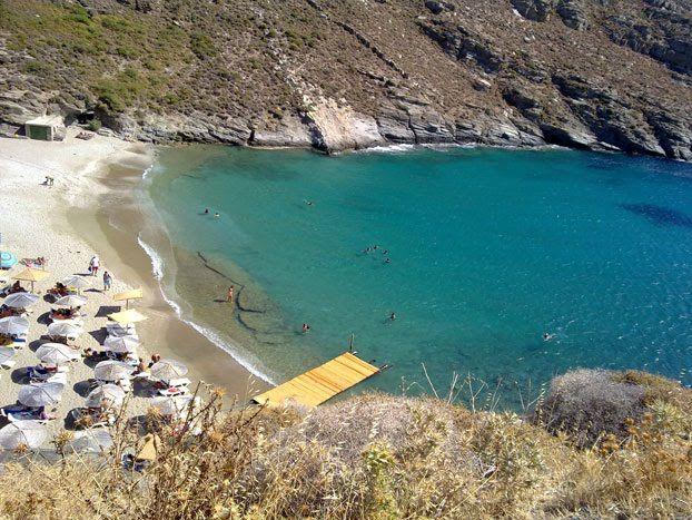 Apothikes beach Andros Greece.