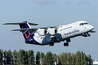 Brussels Airlines British Aerospace Avro RJ100 OO-DWA aircraft, on short finals to Belgium Brussels International Airport. 05/10/2016.