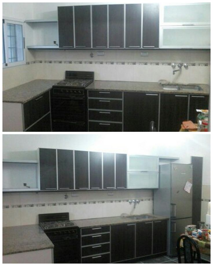 Muebles para cocina en melamina con cantos en aluminio, puertas