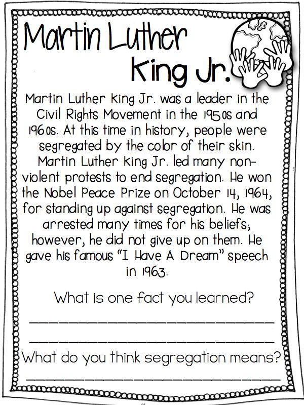 Have students practice their reading comprehension skills along with learning about Martin Luther King Jr.!