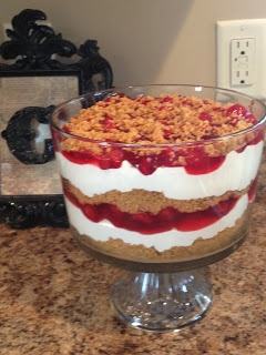 Cheesecake layered in a trifle bowl! Mmmm :)