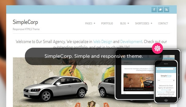 SimpleCorp. Fully responsive free Wordpress theme