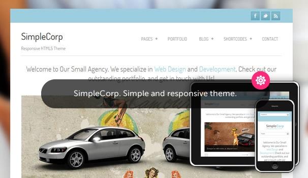 SimpleCorp. Fully responsive free Wordpress theme