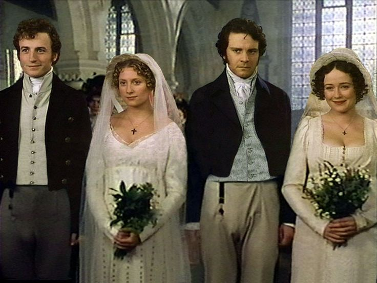 Pride and Prejudice wedding scene from the 1995 British TV 6-episode series.  From left: Crispin Bonham-Carter as Charles Bingley, Susannah Harker as Jane Bennet, Colin Firth as Mr. Darcy and Jennifer Ehle as Elizabeth Bennet.  Novel written by Jane Austen in 1813.