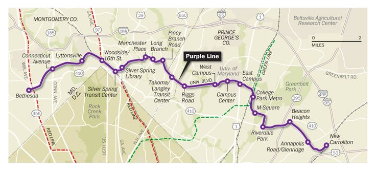 Maryland Purple Line Light Rail Official Route Map Transit