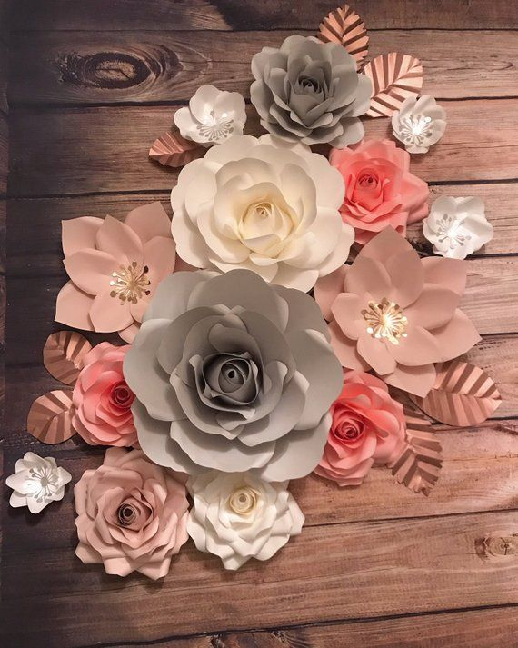 Big Set Paper Flowers Wall Decor Blush Pink Grey And White With