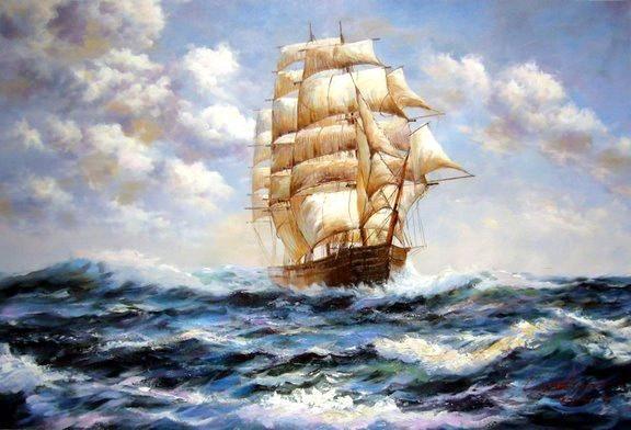 ship oil painting | Oh baby! Nursery ideas | Ship ...