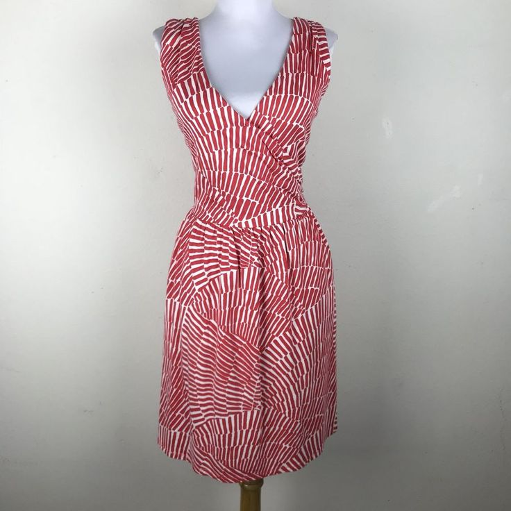 Boden Dress Size 8R Dark Pink Modal Cotton Sleeveless V Neck Criss Cross Casual #Boden #Casual